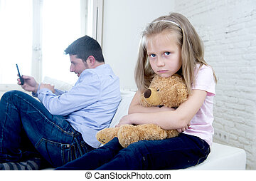 internet addict father using mobile phone ignoring little...