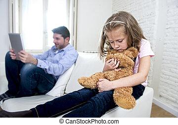 poco, hija, tableta, teddy, triste, digital, padre, oso,...