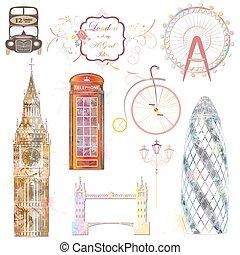 London, a set of stylized icons