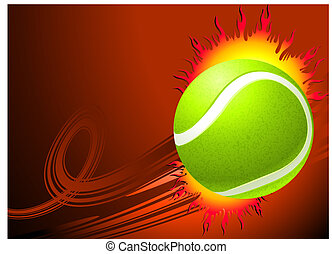 Tennis Ball on Red Background Original Vector Illustration