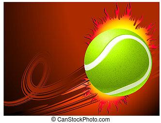Tennis Ball on Red Background Original Vector Illustration