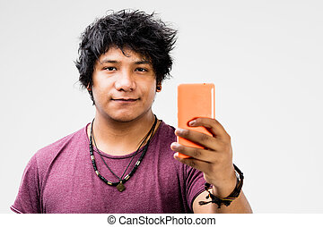 you can do it online with this mobile phone - young biracial...