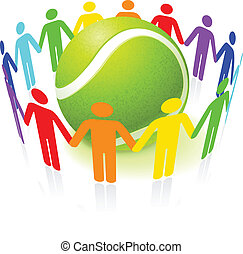 Tennis Ball with People United Original Vector Illustration