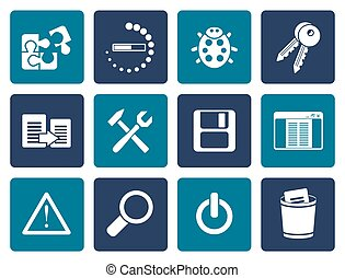 programming and application icons - Flat developer,...