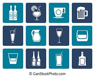 Flat different kind of drink icons
