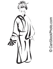 geisha abstract silhouette isolated on white background