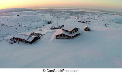 Sunrise Landscape And Ski Resort - Aerial shot of the...