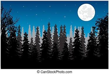 Wood moon in the night - Wild landscape with wood and moon...