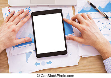 Hands with white tablet - Male hands with blank white tablet...