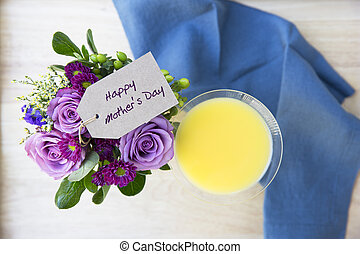 Mother's Day Mimosa - Mother Day greeting on a bouquet of...