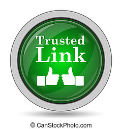 Trusted link icon. Internet button on white background.