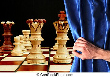 chess and curtain showing strategic business behavior