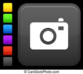 photo camera icon on square internet button - Original...