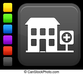 hospital icon on square internet button - Original vector...