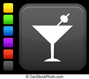 martini icon on square internet button