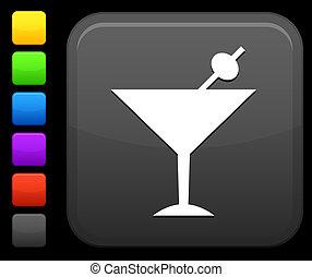 martini icon on square internet button - Original vector...