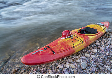 whitewater kayak with helmet - whitewater kayak wth a helmet...