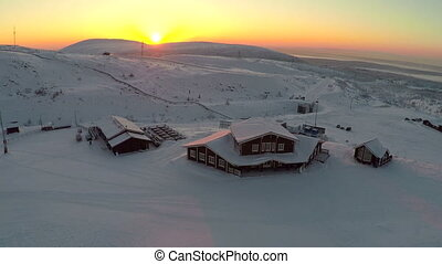 Winter recreation centre at sunset, aerial view