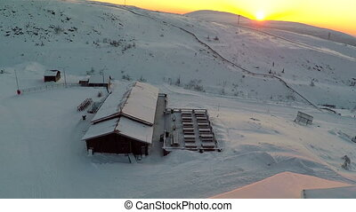 Ski Resort In The Morning - Aerial shot of the wooden...
