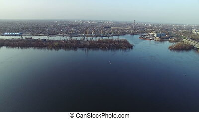 Flying over the Dnipro river - Flying near the island on the...