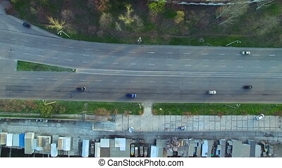 Flying over the highway near the Dnieper River. Spring...