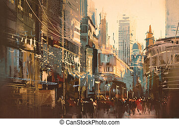 city street,oil painting style - Illustration painting of...