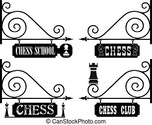 Set of street signs for chess