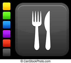 knife and fork icon on square internet button - Original...