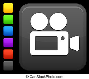 film camera icon on square internet button