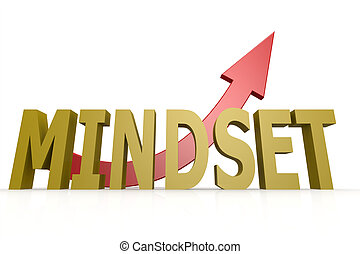 Mindset word with red arrow