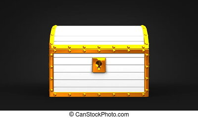 White Treasure Chest On Black Background.