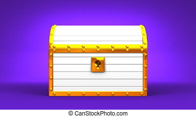 White Treasure Chest On Purple Background.