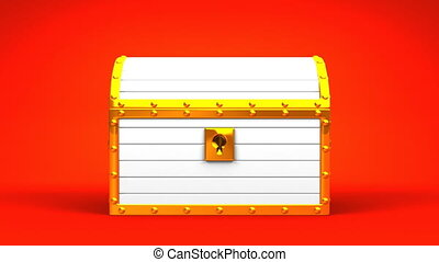 White Treasure Chest On Red Background.