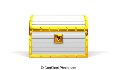 White Treasure Chest On White Background.