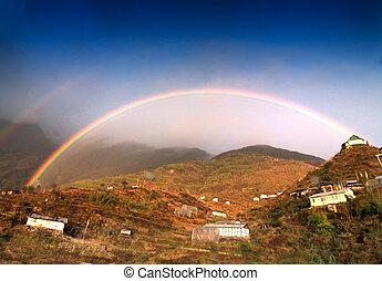 Rainbow over Zuluk village, Sikkim, India - Beautiful...