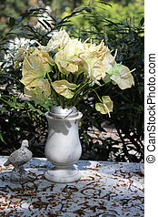 marble grave vase with white anthuriums