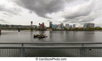 Time lapse over Portland Or skyline - Time lapse movie of...