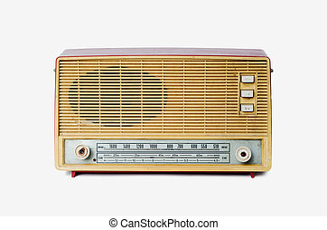 Old dusty radio from 1970 isolated on white background