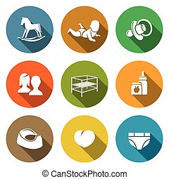 Raising a child Icons Set - Isolated Flat Icons collection...