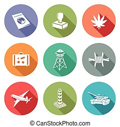 Border crossing Icons Set - Isolated Flat Icons collection...