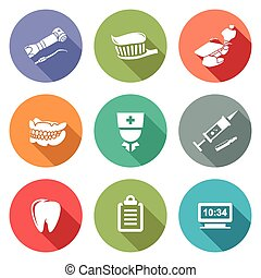 Stomatology Icons Set - Isolated Flat Icons collection on a...