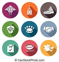 China and Russia Icons Set. - Isolated Flat Icons collection...