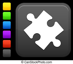 puzzle icon on square internet button