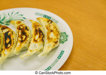 Gyoza on table