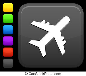 airplane icon on square internet button