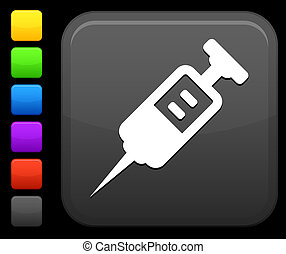 medical Syringe icon on square internet button - Original...
