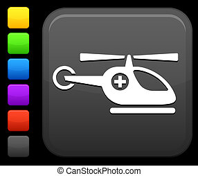 medical helicopter icon on square internet button - Original...