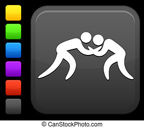 Wrestling icon on square internet button - Original vector...