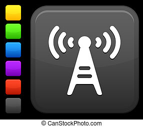 communication tower icon on square internet button -...