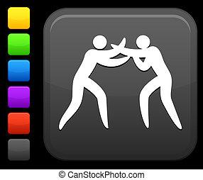 boxing icon on square internet button - Original vector...